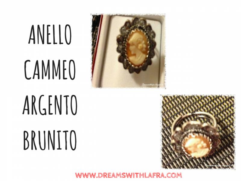 ANELLO CAMMEO ARGENTO BRUNITO