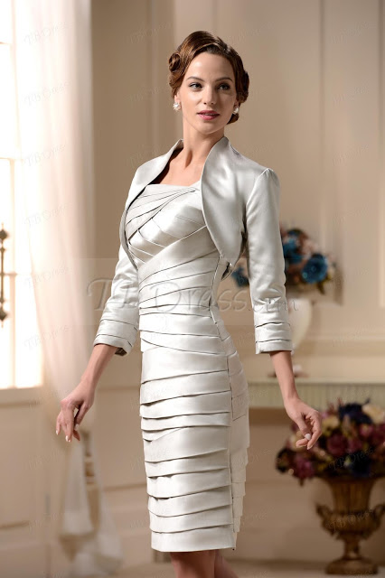 TIERED SHEATH COLUMN SQUARE NECKLINE KNEE LENGHT MOTHER OF THE BRIDE DRESS WITH JACKET SHAWL