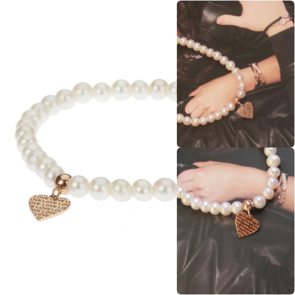 Bracciale con perle e cuore in argento rosa