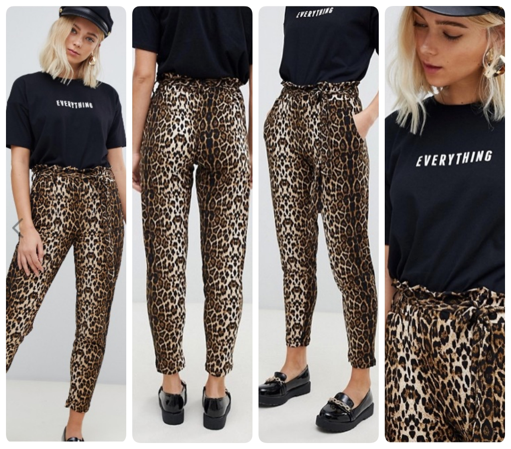 pantaloni stile jogging con fantasia leopardata